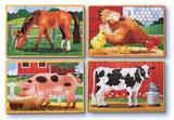 Melissa & Doug 4 houten puzzels in een doosje boerderij