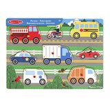 Melissa & Doug houten knoppuzzel voertuigen_