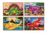 Melissa & Doug 4 houten puzzels in een doosje dinosaurus_
