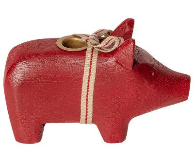 Maileg houten varken voor kaars, rood.
