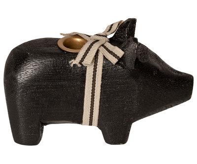 Maileg houten varken voor kaars, zwart