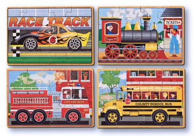 Melissa & Doug 4 houten puzzels in een doosje voertuigen