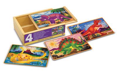 Melissa & Doug 4 houten puzzels in een doosje dinosaurus