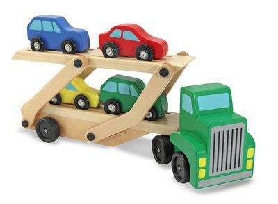 Melissa & Doug  houten auto-oplegger