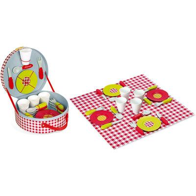 Janod, picknick-koffer met inhoud.
