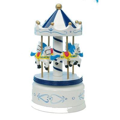 Muziekdoos Carrousel blauw/wit