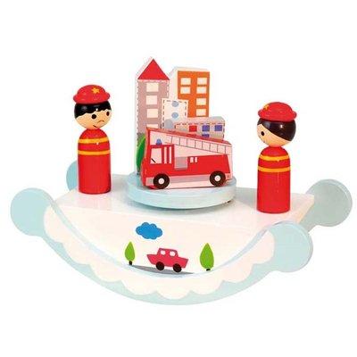 Houten speeldoos brandweer