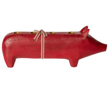 Houten kaarsenstandaard varken rood