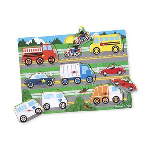 Melissa & Doug houten knoppuzzel voertuigen