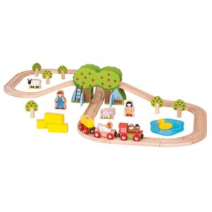 BigJigs houten boerderij trein-set