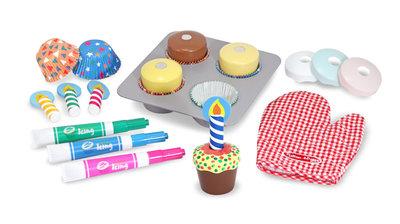 Melissa & Doug houten cupcake speel-set