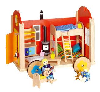 Goki poppenhuis-bouwwagen